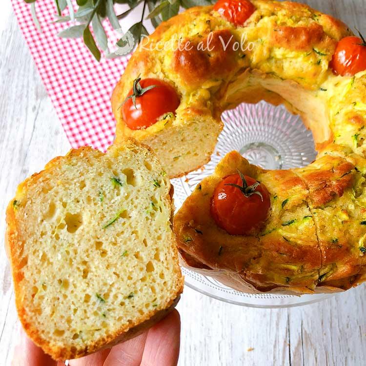 Savory donut with zucchini and cherry tomatoes