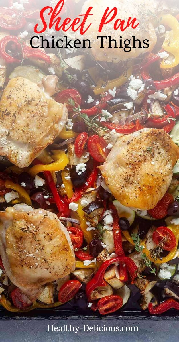 Crispy chicken thighs baked over a bed of Greek-inspired veggies and finished with tangy kalamata olives and salty feta is one of my favorite sheet pan meals. You'll love how easily this delicious low carb dinner comes together! via @HealthyDelish