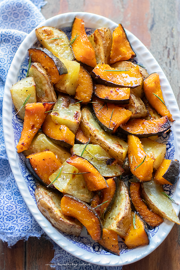 Baked pumpkin and potatoes