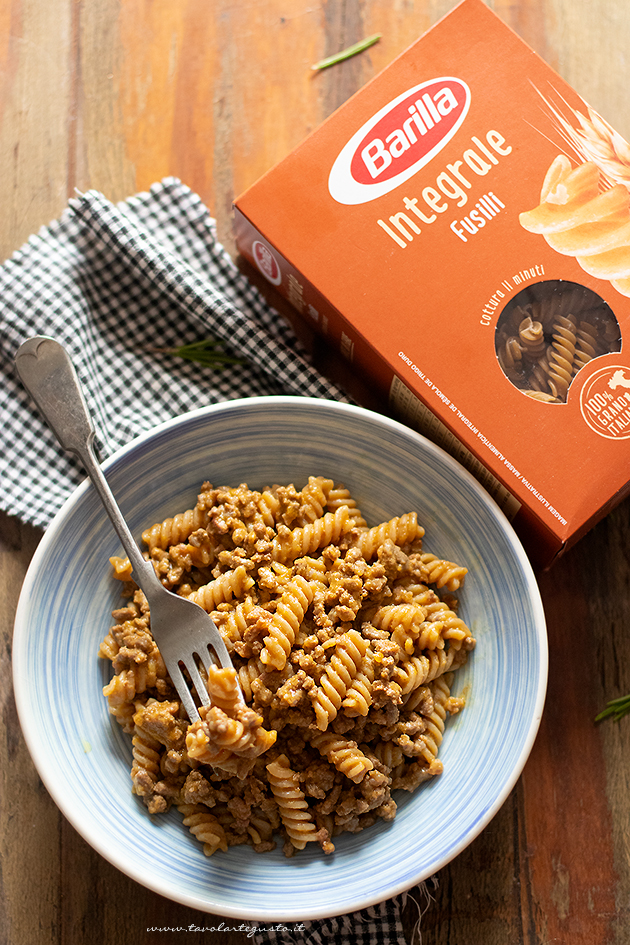 pasta with meat and pumpkin ragout